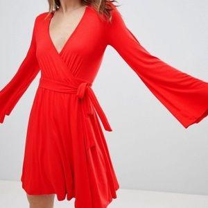 NEW ASOS IvyRevel Red Wrap Skater Dress